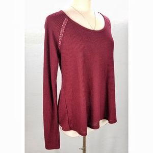 Lucky Brand Burgundy Thermal Back Wrap Shirt Large